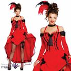 Ladies Red Can Can Burlesque Moulin Rouge Saloon Wild West Fancy Dress Costume
