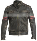 Vintage Fight Club Leather Motorcycle Biker Jackets With Red Stripes