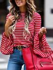 Women's Stripe Button Shirt Ladies Long Bell Sleeve Striped Blouse Top UK