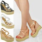 Womens Ladies Strappy Diamante Wedge High Heels Sandals Platforms Shoes Size UK