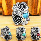 Mixed Turquoise Flower Rings Wholesale Lot  Antique Silver Plated Jewelry