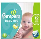 New Pampers Baby Dry Diapers, Size 1 2 3 4 5 6 - [Free Shipping]