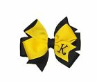 Yellow and Navy Blue Monogram TODDLER Hair Bow
