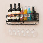 White Black Wine Rack Wall Hanging Mounted Bottle Champagne Glass Holder Durable