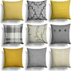 "Ochre Yellow Silver Mustard Cushion Covers 18"" x 18"" (45cm x 45cm) Cover"