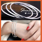 18K WHITE GOLD GF SOLID PLAIN SILVER STACKABLE ROUND BAND GOLF BANGLE BRACELET