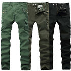 Mens Motorcycle Denim Biker Jeans Zippers Stretch Skinny Trousers Slim Fit Pants