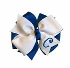 Teal Blue Monogram Hair Bow