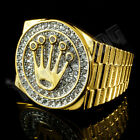 18K Gold Plated ICED OUT CZ Presidential Style Band Mens Bling Pinky Ring