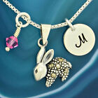 Sterling Silver Bunny Customized Disc Made With Swarovski Birthstone Necklace