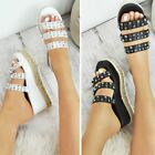 Womens Ladies Flatforms Sandals Espadrilles Embellished Stud Jewel Wedges Size