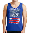 American Made Anchor Mens Tank Top Distressed US Flag Tanks for Men - 2001C