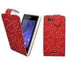 FOR SONY XPERIA Z3 GLITTER IN VARIOUS COLOURS PU LEATHER FLIP COVER CASE