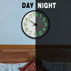 Round Wall Clock with Night Light 12 inch Clock Non-Ticking Quartz for Room Home