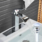 Waterfall Bathroom Vanity Sink Faucet Rectangular Spout Chrome Base Cover Drain