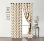 2 Pack: 100% Blackout Chevron Curtains W/ Tiebacks - Assorted Colors & Sizes