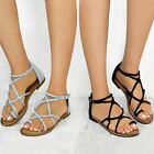 Womens Ladies Flats Gladiator Strappy Sandals Ankle Strap Summer Comfy New Size