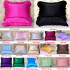 1pc 16mm Both Face 100% Mulberry Silk Ruffle Border Pillow Case Sisters Silk