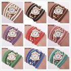 Women Watches Fashion Vintage Weave Wrap Leather Wrist Watch Bracelet For Ladies image