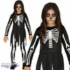 Child Girls Skeleton Bones Horror Day Dead Halloween Fancy Dress Costume Outfit