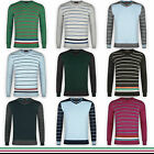 Mens Striped Sweatshirt Crew Neck Jumper Pullover Jersey Sweater Casual New Work