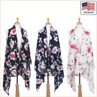 New Women Fashion Floral Printed Chiffon Open Front Sleeveless Vest - 30037