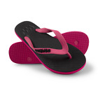 Waves Pink and Black Twofold Real Rubber Flip Flops for Women - Size 5 6 7 8 9