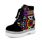 Womens Lace Up Hidden Wedge Heel Casual Punk Platform Ankle Boot Shoes ALL US Sz