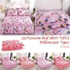 Bed Cover Thickened Protective Quilted Padded Lace Skirt Single Piece Polyester image