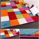 Multicoloured Children Rug Short Pile Carpet Play Mat Kids Checked Thick Carpet