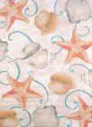 Brown Curls Curves Seashells Starfish Contemporary Area Rug Nautical 541-50417