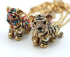 J622 New Fashion Crystal Enamel Cutest Tiger 3D Pendant Sweater Necklace
