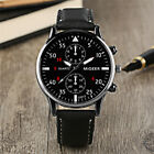 Fashion Men's Analog Quartz Stainless Steel Watches Leather Band Wrist Watch image
