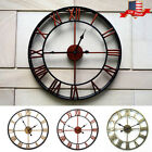 15.7inch Large Outdoor Garden Wall Clock Antique Roman Numeral Round Open Face