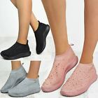 Womens Ladies Flat Sock Trainers Comfy Diamante Embellished Sneakers Shoes Size
