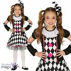 Girls Childs Circus Jester Harlequin Honey Clown Halloween Fancy Dress Costume