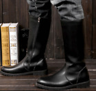 Mens Cosplay Cowboy Combat Ridding Zip Wearable Flat Mid Calf Boots Shoes Size