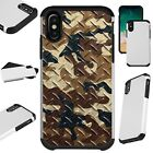 FusionGuard For iPhone 6/7/8 PLUS/X/XR/XS Max Phone Case CAMO CROSSHATCH BROWN