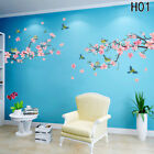Peach Blossom Flower Tree Branch Birds Wall Stickers Home Decal Living Decor Uk