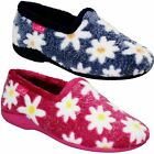 Ladies Slip On Low Wedge Heel Fluffy Warm Daisy Floral Print Comfy Slippers