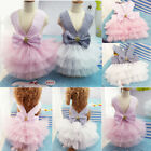Small Cute Dog Party Clothes Girl Dog Pink Dress Bow Pet Cat Shirt Birthday