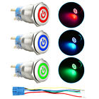 19mm 12V Car Metal Push Button Switch LED Latching On Off Socket Plug Waterproof