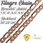 PURE SOLID COPPER FILAGRO CHAIN CURB LINK CUBAN BRACELET/ANKLET ARTHRITIS PC06B image