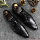 Men's Pointy Toe Business Formal Shoes British Style Wedding Real Leather Shoes