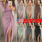 Us Women Long Sleeve Off Shoulder Bodycon Evening Cocktail Party Club Long Dress