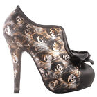 Sexy 60s Rust Skull Bow Hidden Platform Contrast Ankle Boots AU Size 4-9