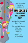 Personalised Wall / Rock Climbing Birthday Party Invites inc envelopes RC2
