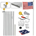 16ft 20ft 25ft Aluminum Secctional flagpole Kit Outdoor Gold Ball & US Flag New