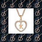 Gold Tone Initial Alphabet Letter A-Z Love Heart Pendant Chain Crystal Necklaces