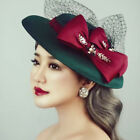Retro Green Bow Tulle Lady/Women Prom Party Wedding Formal Hat Hair Accessories